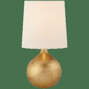 Warren Mini Table Lamp in Gild with Linen Shade