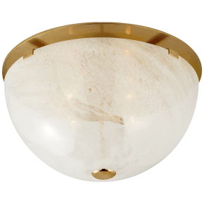 Serein Medium Flush Mount in Hand-Rubbed Antique Brass with White Strie Glass