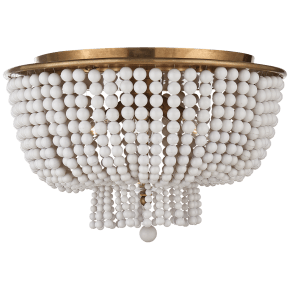 Jacqueline Flush Mount in Hand-Rubbed Antique Brass with White Acrylic