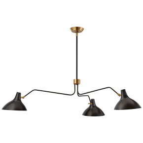Charlton Large Triple Arm Chandelier in Black