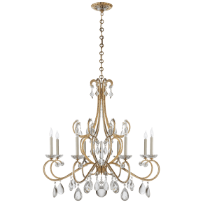 Montmartre Chandelier in Hand-Rubbed Antique Brass with Crystal