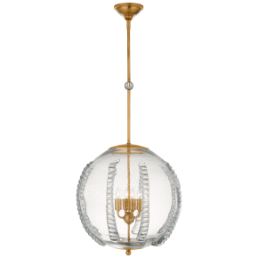 Gisela Large Globe Pendant in Hand-Rubbed Antique Brass with Seeded Glass