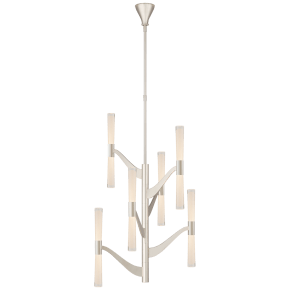 Brenta Medium Tall Chandelier in Polished Nickel with Clear Glass