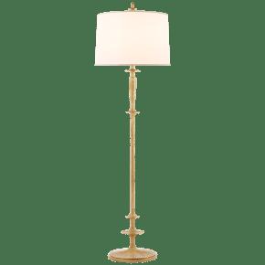 Lotus Floor Lamp in Gild with Silk Shade