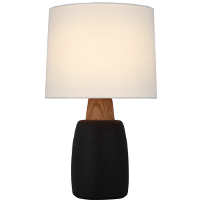 Aida Large Table Lamp in Porous Black and Natural Oak with Linen Shade