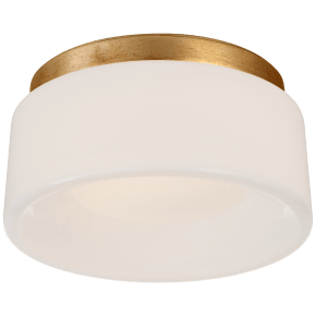 """Halo 5.5"""" Solitaire Flush Mount in Gild with White Glass"""