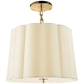 Simple Scallop Large Hanging Shade in Soft Brass with Silk Shade