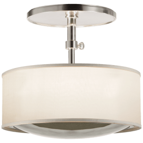 Reflection Semi-Flush Hanging Shade in Soft Silver with Silk Shade