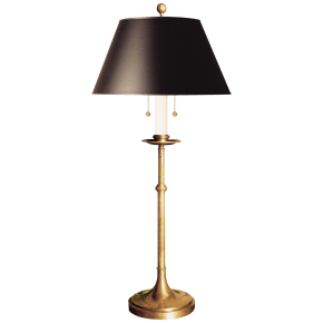 Dorchester Club Table Lamp in Antique-Burnished Brass with Black Shade