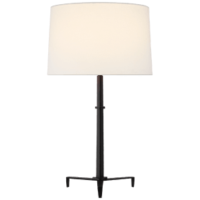 Dunmere Medium Table Lamp in Aged Iron with Linen Shade