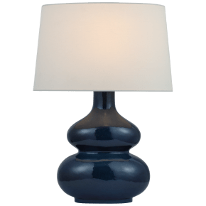 Lismore Medium Table Lamp in Mixed Blue Brown with Linen Shade
