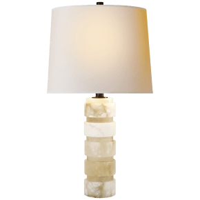 Round Chunky Stacked Table Lamp in Alabaster with Natural Paper Shade