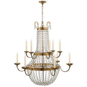 Paris Flea Market Grande Chandelier in Antique-Burnished Brass with Seeded Glass