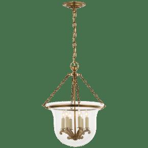 Country Medium Bell Jar Lantern in Antique-Burnished Brass