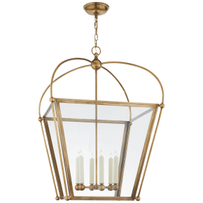 Plantation Large Square Lantern in Antique-Burnished Brass with Clear Glass