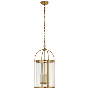 Plantation Small Round Lantern in Antique-Burnished Brass with Clear Glass