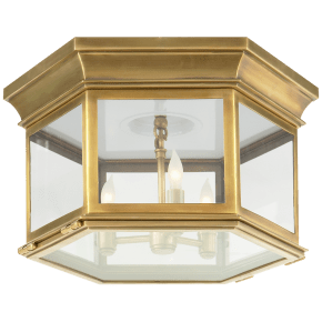 Club Large Hexagonal Flush Mount in Antique-Burnished Brass with Clear Glass