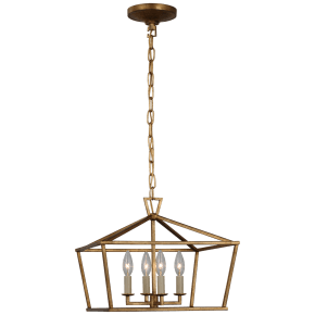 Darlana Small Wide Semi-Flush Mount Lantern in Gilded Iron