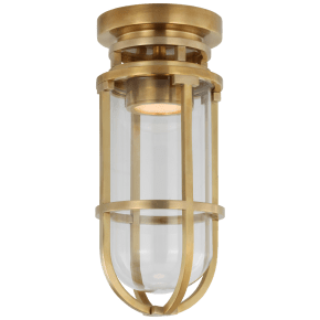 Gracie Tall Flush Mount in Antique-Burnished Brass with Clear Glass