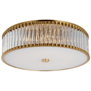 """Kean 24"""" Flush Mount in Hand-Rubbed Antique Brass with Clear Glass Rods and Frosted Glass Diffuser"""