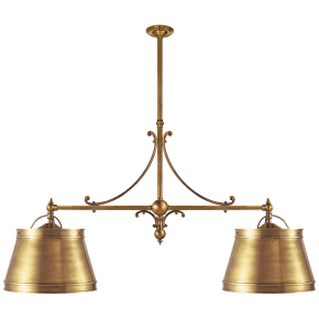 Sloane Double Shop Pendant in Antique-Burnished Brass with Antique-Burnished Brass Shades