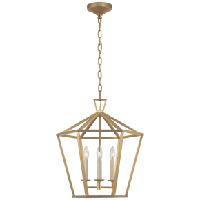 Darlana Medium Hexagonal Lantern in Antique-Burnished Brass
