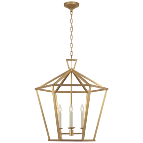 Darlana Large Hexagonal Lantern in Antique-Burnished Brass