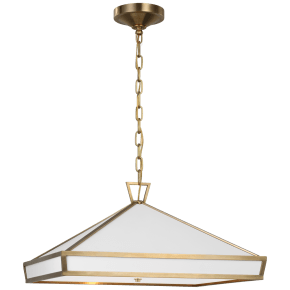Darlana Medium Pendant in Antique-Burnished Brass with Matte White Panels and Acrylic Diffuser