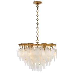 Cora Small Waterfall Chandelier in Antique-Burnished Brass with Alabaster