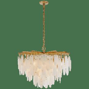 Cora Medium Waterfall Chandelier in Antique-Burnished Brass with Alabaster