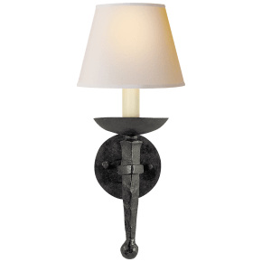 Iron Torch Sconce in Black Rust with Natural Paper Shade