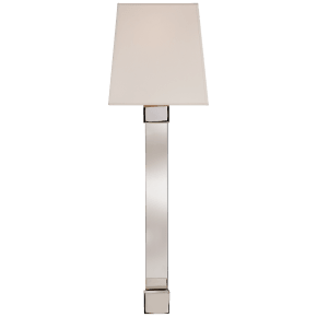 Edgar Large Sconce in Polished Nickel and Crystal with Silk Shade