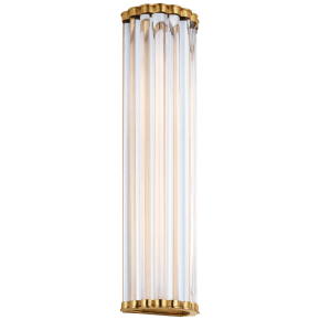"Kean 21"" Sconce in Antique-Burnished Brass with Clear Glass Rods"