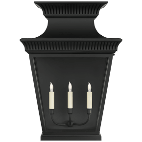 Elsinore Extra Large 3/4 Wall Lantern in Black with Clear Glass