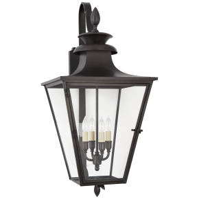 Albermarle Medium Bracketed Wall Lantern in Blackened Copper with Clear Glass