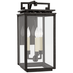 Cheshire Small Bracketed Wall Lantern in Aged Iron with Clear Glass