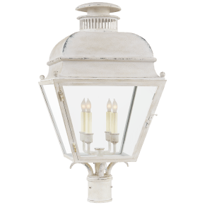 Holborn Medium Post Light in Old White with Clear Glass