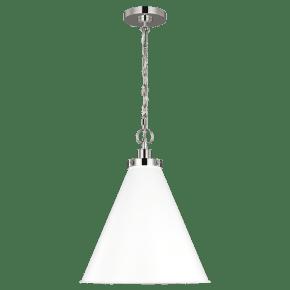 Wellfleet Medium Cone Pendant White Polished Nickel Matte