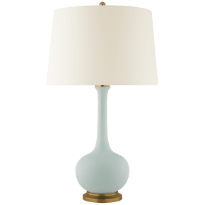 Coy Large Table Lamp in Matte Sky Blue with Natural Percale Shade