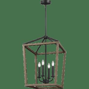 Gannet Medium Chandelier Weathered Oak Wood / Antique Forged Iron