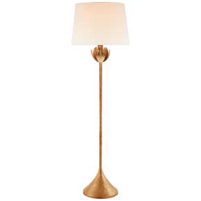 Alberto Large Floor Lamp in Antique Gold Leaf with Linen Shade