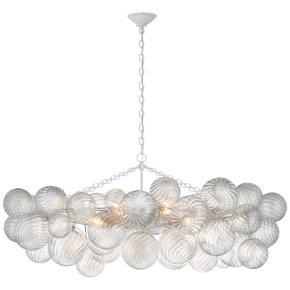 Talia Medium Linear Chandelier in Plaster White with Clear Swirled Glass