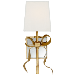 Ellery Gros-Grain Bow Small Sconce in Soft Brass with Cream Linen Shade