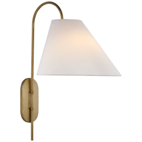 Kinsley Large Articulating Wall Light in Soft Brass with Linen Shade