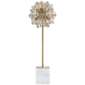 Dickinson Buffet Table Lamp in Soft Brass and White Marble with Clear Glass and Cream Pearls