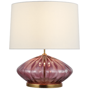 Everleigh Medium Fluted Table Lamp in Orchid with Linen Shade