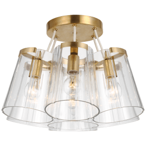 Thoreau Large Semi-Flush Mount in Soft Brass and Cream with Clear Glass