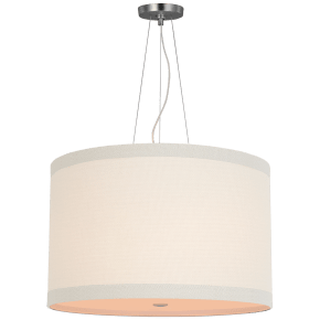 Walker Medium Hanging Shade in Burnished Silver Leaf with Cream Linen Shade