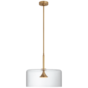 """Rochester 18"""" Dome Pendant in Soft Brass with Clear Glass"""