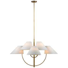 Kinsley Large Two-Tier Chandelier in Soft Brass with Linen Shades
